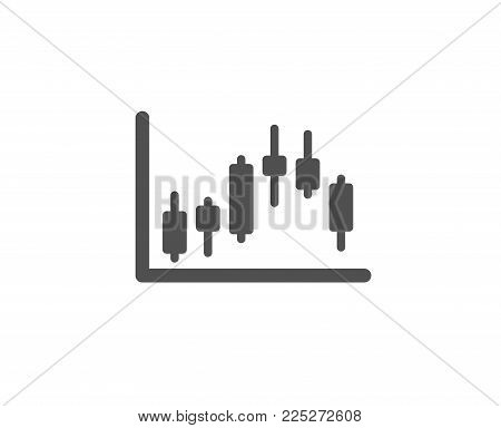 Candlestick chart simple icon. Financial graph sign. Stock exchange symbol. Business investment. Quality design elements. Classic style. Vector