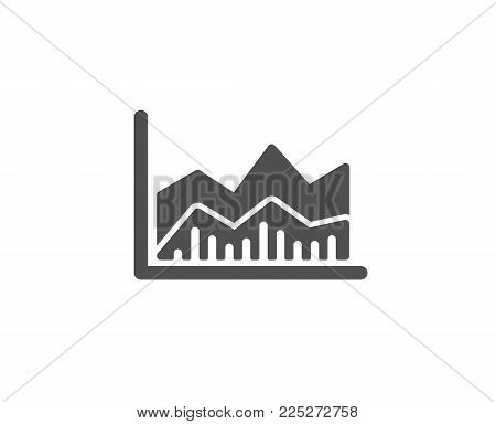 Line chart icon. Financial growth graph sign. Stock exchange symbol. Quality design elements. Classic style. Vector
