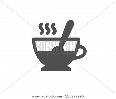 Cup with spoon simple icon. Fresh beverage sign. Latte or Coffee symbol. Quality design elements. Classic style. Vector