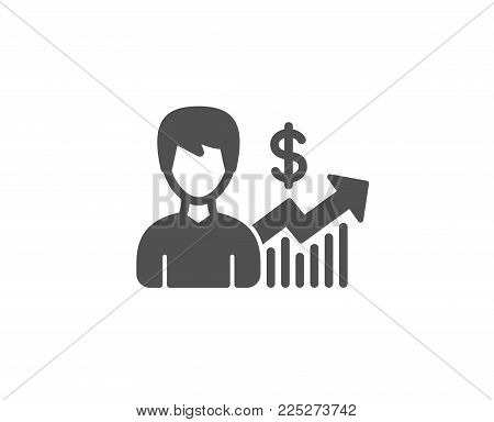 Business results simple icon. Dollar with Growth chart sign. Quality design elements. Classic style. Vector