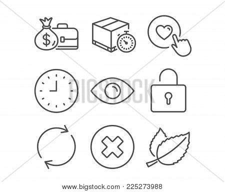 Set of Like button, Close button and Clock icons. Eye, Full rotation and Salary signs. Delivery timer, Lock and Mint leaves symbols. Press love, Delete or decline, Time or watch. Vector