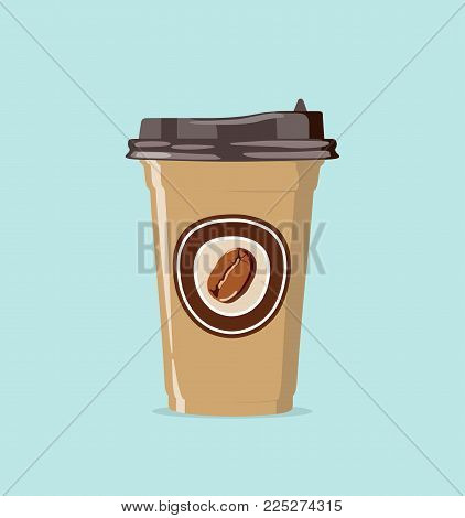Vector icon with coffee bean logo on disposable eco-glass with lid in flat design on blue background. Coffee take away.