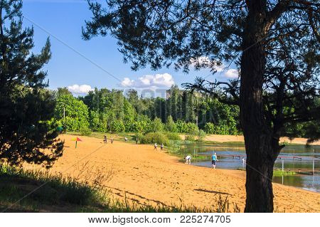Summer View Of The Sandy Lakeshore In Suburban Residential District. Moscow Region, Zarya District,