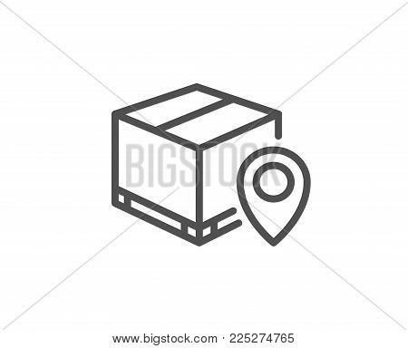 Parcel tracking line icon. Delivery monitoring sign. Shipping box location symbol. Quality design element. Editable stroke. Vector