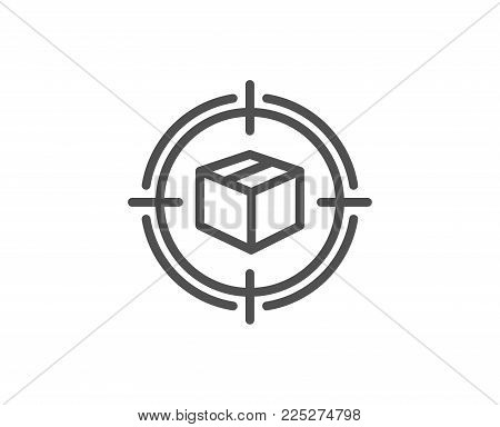 Parcel tracking line icon. Delivery monitoring sign. Shipping box in target symbol. Quality design element. Editable stroke. Vector