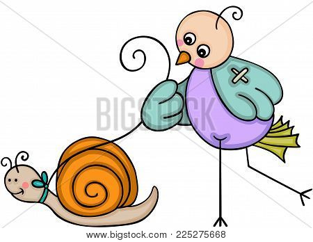 Scalable vectorial representing a bird walking with snail, illustration isolated on white background.