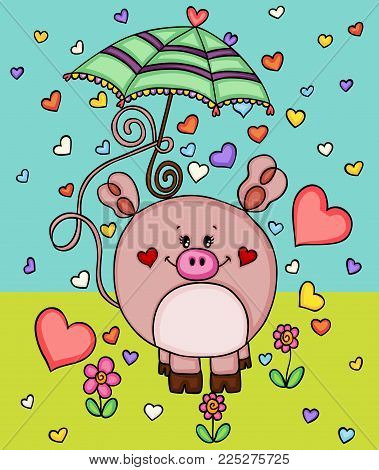 Cute love piggy in garden with umbrella and hearts