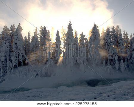 Power by nature, biggest waterfall Storforsen in winter, minus 30