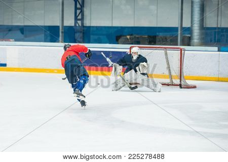 Hockey Player On The Ice Hockey Stadium, Sport Photo, Edit Space
