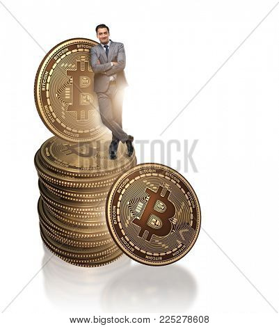 Businessman in cryptocurrency blockchain concept