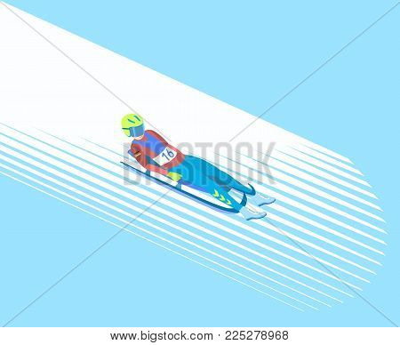 Winter sport Luge. Athlete on a sledge face up on a snowy track. Vector illustration EPS-8.