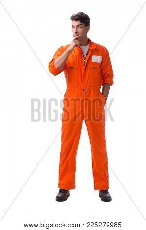 Prisoner in orange robe isolated on white background