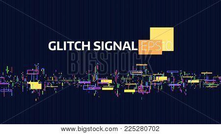 Noise glitch signal. Data flow bug and damage. Signal digital. Geometric chaos banner