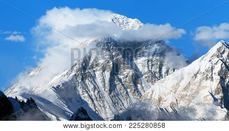 Panoramic view of mount Everest with beautiful clouds on the top from Gokyo Ri - Everest area, Sagarmatha national park, Khumbu valley, Nepal