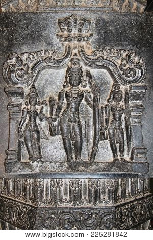 Bas-reliefs On The Basalt Columns Of The Vittala Temple In Hampi, Karnataka, India.