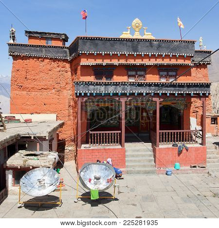 Gompa or monastery in Kagbeni, Beautiful village in lower Mustang area, round Annapurna circuit trekking trail, Nepal
