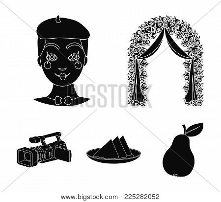 The arch is decorated with roses and silk, a clown in a cap, a plate with red napkins, a video camera. Event services set collection icons in black style vector symbol stock illustration web.