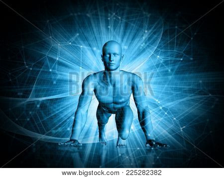 3D abstract techno background with male figure in running start position on a background of connecting lines and dots