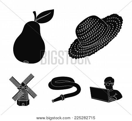 Straw hat, pear with leaf, watering hose, windmill. Farmer and gardening set collection icons in black style vector symbol stock illustration web.
