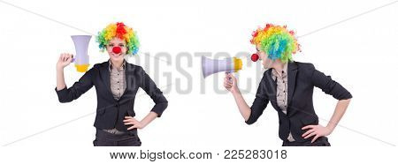 Businesswoman clown with loudspeaker isolated on white