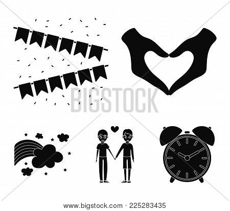 Hand with heart, flag, men.Gayset collection icons in black style vector symbol stock illustration .