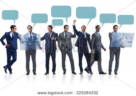 Businessmen with callout bubble blank message isolated on white