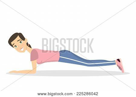Woman doing plank. Fitness exercise on white background.