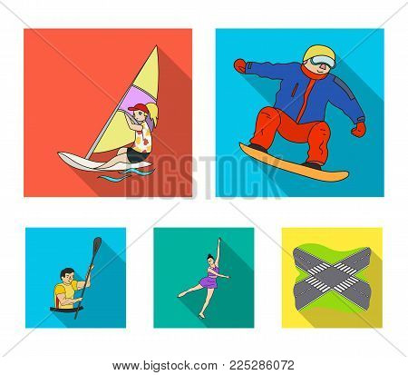 Snowboarding, sailing surfing, figure skating, kayaking. Olympic sports set collection icons in flat style vector symbol stock illustration .