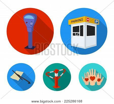A parking lot, a parking meter, a check for services, a barrier. Parking zone set collection icons in flat style vector symbol stock illustration .