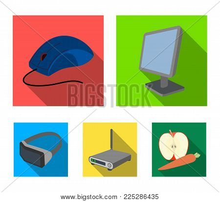 Monitor, mouse and other equipment. Personal computer set collection icons in flat style vector symbol stock illustration .