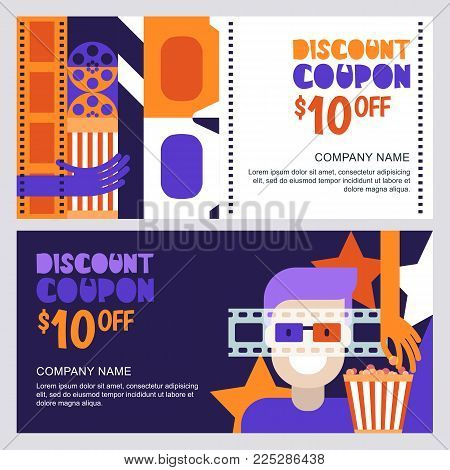 Vector Cinema Discount Coupon Or Voucher Template. Design Elements For Movie Flyer, Entrance Ticket