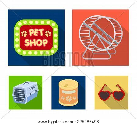 Container for carrying animals and other attributes of the zoo store. Pet shop set collection icons in flat style vector symbol stock illustration web.