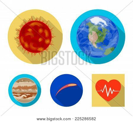 Earth, Jupiter, the Sun of the Planet of the Solar System. Asteroid, meteorite. Planets set collection icons in flat style vector symbol stock illustration web.
