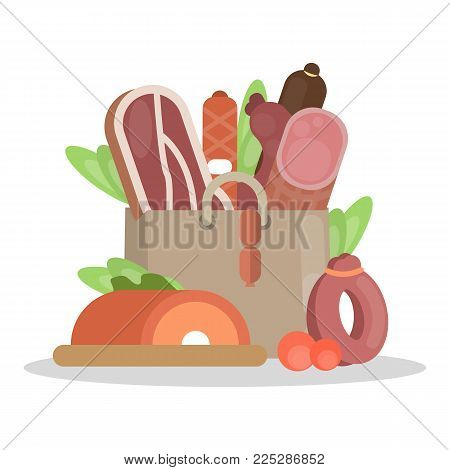 Meat products bag with ham and sausages, beef and pork.