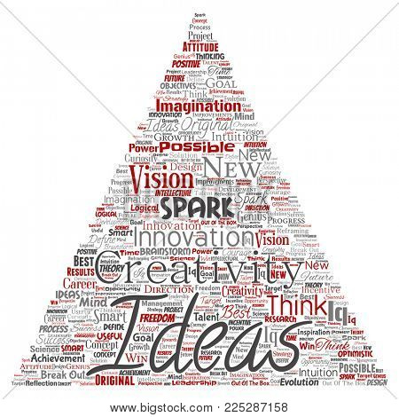 Conceptual creative idea brainstorming human triangle arrow word cloud isolated background. Collage of spark creativity original, innovation vision, think, achievement or smart genius concept