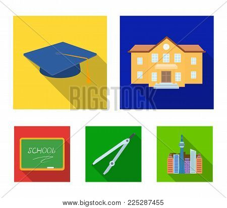 School building, college with windows, a master's or applicant's hat, compasses for a circle, a board with a chalk school inscription. School and education set collection icons in flat style vector symbol stock illustration .