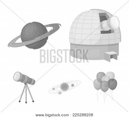 Observatory with radio telescope, planet Mars, Solar system with orbits of planets, telescope on tripod. Space set collection icons in monochrome style vector symbol stock illustration .