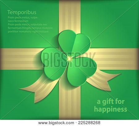 Gift package clover green shamrock gold ribbon St. Patrick Day 3D vector