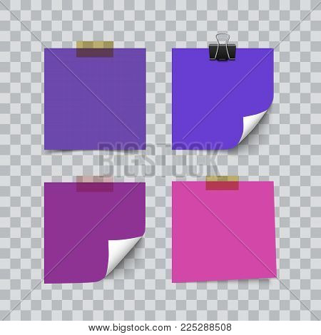 Set of ultra violet color sheets of note memo paper isolated on transparent background. Realistic vector illustration. Curl corner