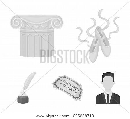 Pointe shoes, column, theater ticket, inkwell with feather. Theater set collection icons in monochrome style vector symbol stock illustration .