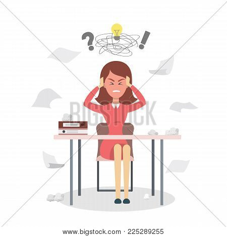 Isolated stressed businessman sitting at the desk.