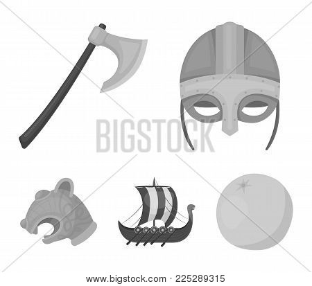 Viking helmet, battle ax, rook on oars with shields, dragon, treasure. Vikings set collection icons in monochrome style vector symbol stock illustration .