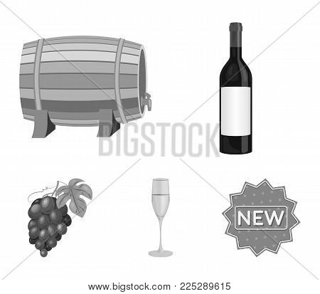 A bottle of red wine, a wine barrel, a glass of champagne, a bunch. Wine production set collection icons in monochrome style vector symbol stock illustration .