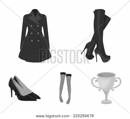 Women's high boots, coats on buttons, stockings with a rubber band with a pattern, high-heeled shoes. Women's clothing set collection icons in monochrome style vector symbol stock illustration .