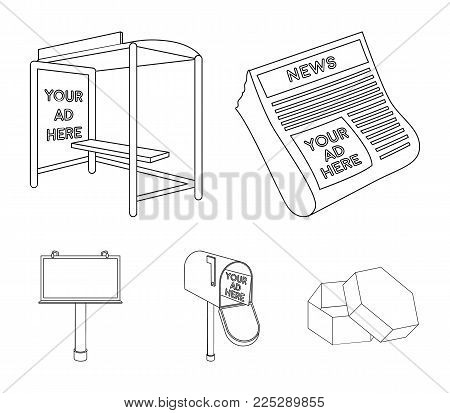 Newspapers, a bus stop, a mail box, a billboard.Advertising, set collection icons in outline style vector symbol stock illustration .