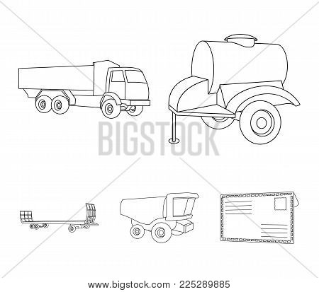 Trailer with a barrel, truck and other agricultural devices. Agricultural machinery set collection icons in outline style vector symbol stock illustration .
