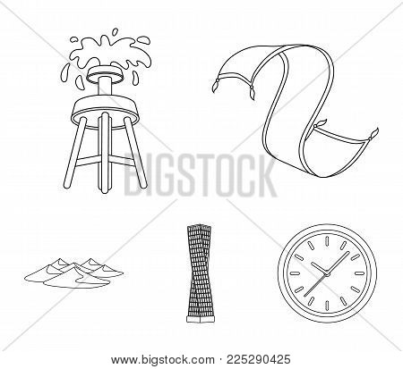 Persian carpet, dunes in the desert, Shanghai Tower, oil well.Arab emirates set collection icons in outline style vector symbol stock illustration .