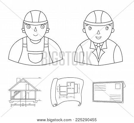 Engineer-constructor, construction worker, site plan, technical drawing of the house. Architecture set collection icons in outline style vector symbol stock illustration .