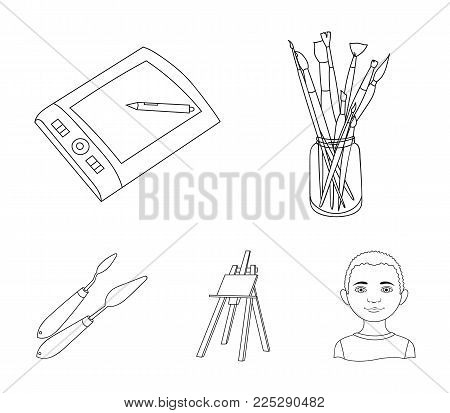 Bank with brushes, a drawing board, an easel with a canvas, paint knives.Artist and drawing set collection icons in outline style vector symbol stock illustration .