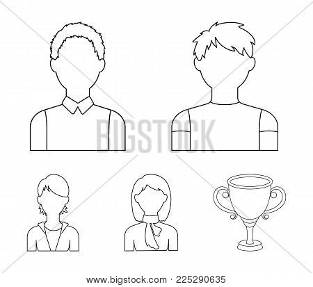 Boy teenager, woman with scarf, girl.Avatar set collection icons in outline style vector symbol stock illustration .